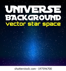 Vector universe. Black space with blue shining universe.