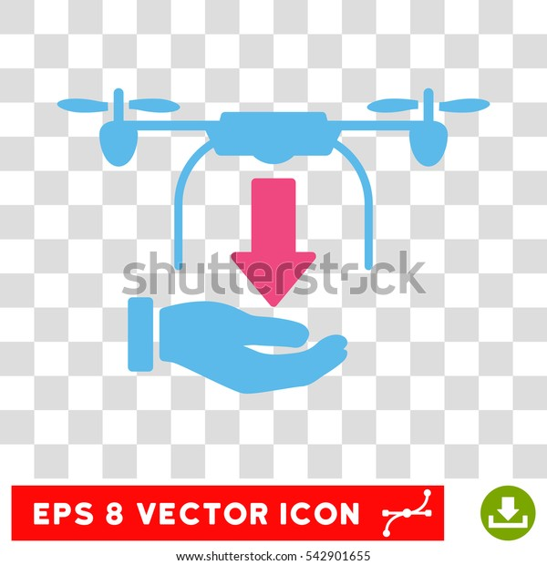 Vector Unload Drone EPS vector pictogram. Illustration style is flat iconic bicolor pink and blue symbol on a transparent background.