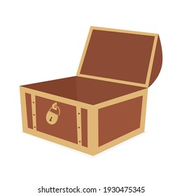 Vector of an unlocked empty wooden treasure box on a white background