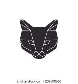 Vector unusual geometric triangles cat in origami style.