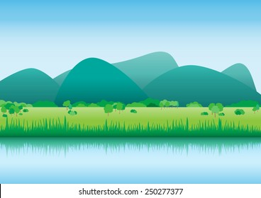 Vector upcountry landscape nature background