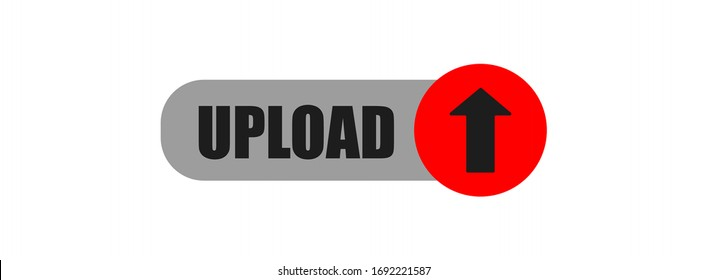 vector upload button isolated on white background