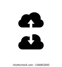 Vector Upload and Download Icons, Clouds and Arrows, Black Design Elements Isolated on White Background.