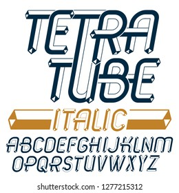 Vector upper case modern alphabet letters set. Artistic italic font, typescript for use in logo creation. Created with carton tube style, trigonometry design.