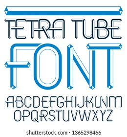 Vector upper case modern alphabet letters set. Artistic font, typescript for use in logo creation. Made with 3d tetra tube design, industry style.