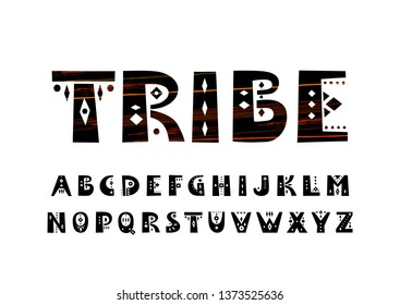 Vector uppercase alphabet in tribal style.