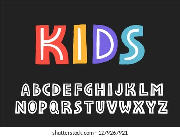 Vector uppercase display alphabet with texture border and the line inside the letters.