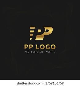 Vector Uppercase Letter PP Negative Space Logo Design Template.