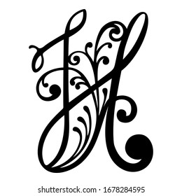 Vector uppercase letters with floral elements. Handmade calligraphy of alphabet symbols