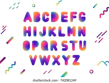 Vector uppercase ultramodern gradient fluid alphabet.
