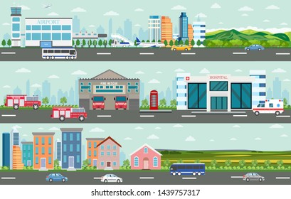Vector of urban big cityscape and rural area with modern buildings, skyscrapers, houses, airport, hospital, fire department and passing by cars and buses.