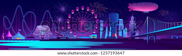 Vector urban concept background with night city illuminated with neon glowing lights. Festive cityscape with modern buildings, skyscrapers, amusement park with ferris wheel and firework on river bank