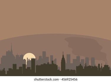 vector urban landscape of a city pollution