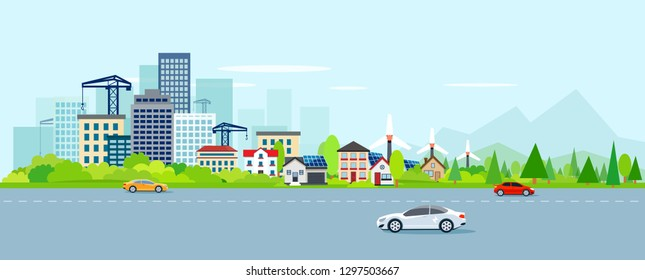 Vector of urban landscape with modern cityscape and suburbs with wind power turbines on a background of mountains. Highway with cars.