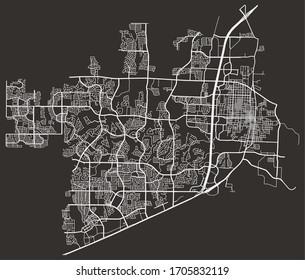 Vector urban street map of roads in McKinney, Texas, USA