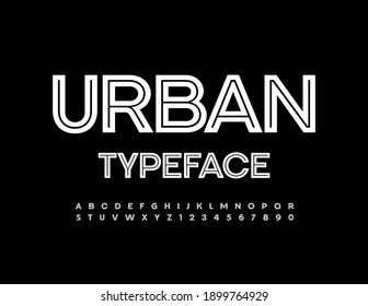 Vector Urban Typeface. White creative Alphabet Letters and Numbers set. Trendy simple Font