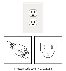 Vector. US socket and plug. Icon. Three pin socket isolated illustration.