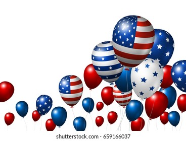Vector USA balloon design of american flag on white background with copy space