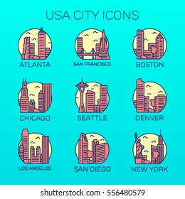 Vector USA Cities Icon Set