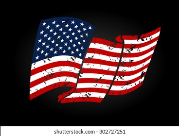 Vector USA flag in grunge style, on black background