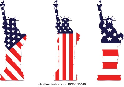Vector of the USA liberty statue with american flag background