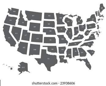 A vector usa map with all states in separate layers.