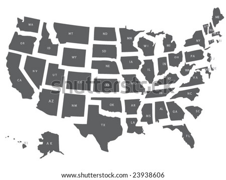 Vector Usa Map All States Separate Stock Vector Royalty Free