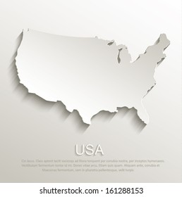 vector USA map card paper 3D natural