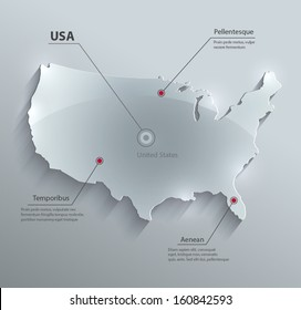 vector USA map glass card paper 3D america united states