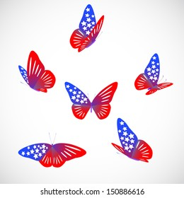 vector USA national flag on butterfly