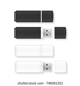 Vector USB Flash Drive isolated on white background. Black and white flash disks.