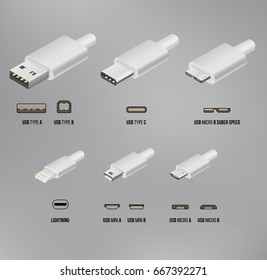 Vector USB type A, type C, micro USB, super speed and lightning white cable connector illustration in 3D realistic isometry