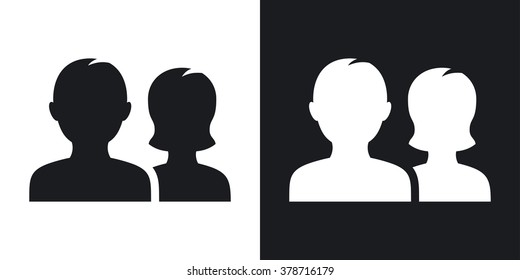 Vector user group icon. Two-tone version on black and white background