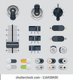 Vector user interface dials, knobs, switches and buttons icon set