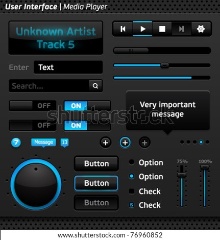 Vector user interface: media player.