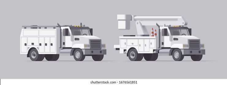Vector utility truck. Isolated aerial bucket truck. Cherry picker. Box service truck. Collection