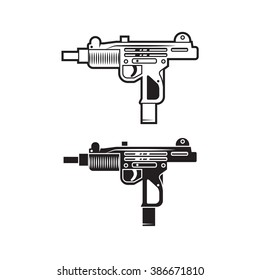 Vector UZI weapon for cover, poster, logo, print, label, sticker, banner, game. Line style. Set of two.