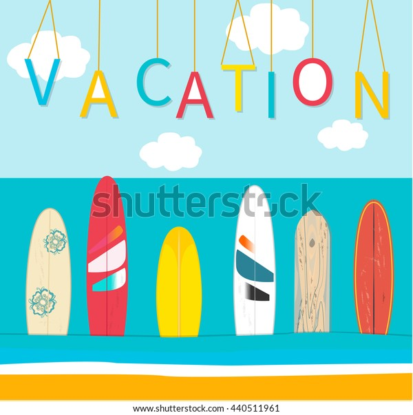 Vector Vacation poster background. Sea, wind surfing boards, clouds. Vector illustration