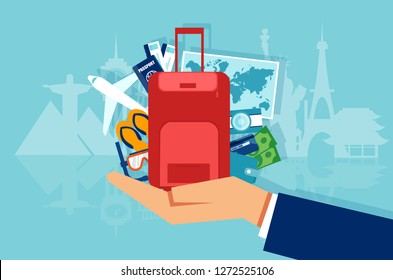 Vector of vacation and tourism concept with icons baggage suitcase, passport, money, map isolated on famous landmarks background