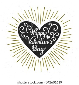 """Vector valentine card with heart silhouette, sunbursts, and text """"Happy Valentine's day"""". Stylish vintage background. Rustic label."""