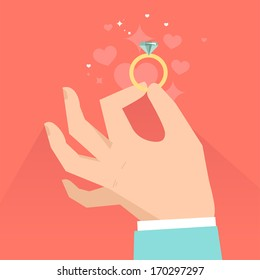 Vector valentine day greeting card in flat style - male hands holding engagement ring  in flat style