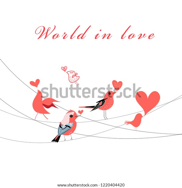 Vector Valentine greeting card with birds in love on white background