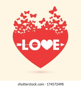 Vector valentine heart with butterflies background illustration