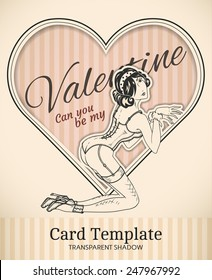 Vector Valentine heart and  retro pin-up woman illustration with realistic paper cut out effect parts and transparent shadows - template for vintage invitation, poster or card