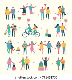 Vector Valentine illustration in a flat modern style of happy people and couples in love