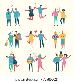 Vector Valentine illustration in a flat style  of happy people in love