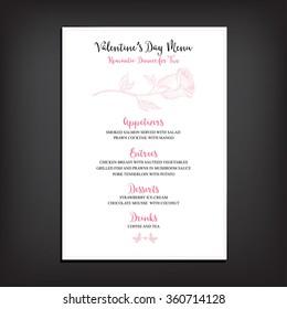 Vector valentine restaurant brochure, menu design. Vector holiday template with hand-drawn graphic. Valentine's day invitation flyer.