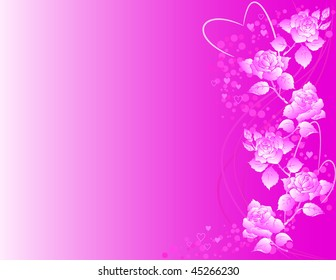 Vector valentine's background with roses and heart shapes.