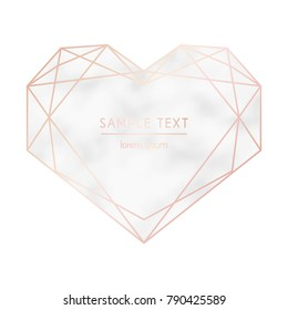 Vector Valentine's card. Geometric silhouette of hearts with marble texture. Pink gold color