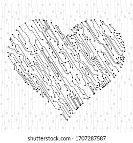 Vector Valentine's circuit board in heart shape. Multicolor technology illustration. Eps 10 vector.